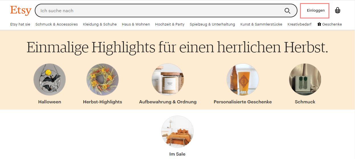 Das Bild zeigt die den Internetauftritt von etsy.com.