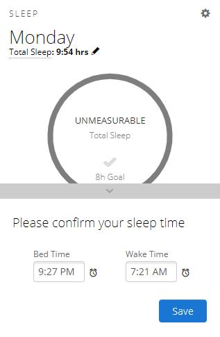 Image of no sleep card in Garmin Connect web