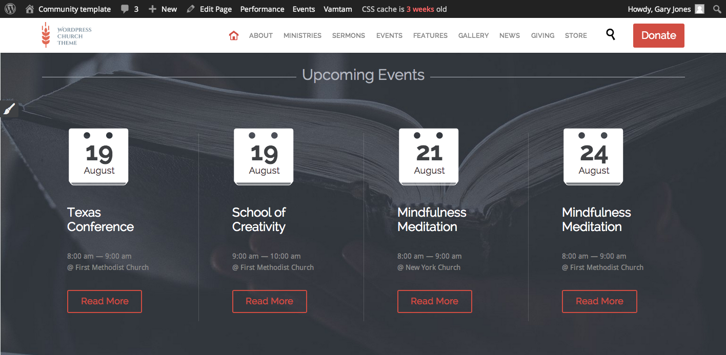 How To Add Change The Upcoming Events On The Home Page Church And Event Theme Vamtam Help Desk