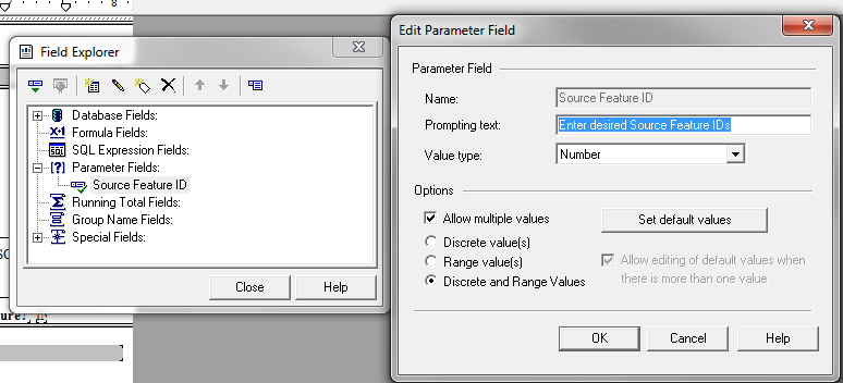 Crystal Reports: How do I use Parameter fields and the