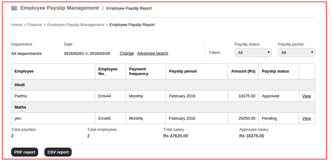 How to view employee payslip report in Fedena 3 5 : Fedena