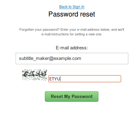 Resetting the password : Amara Support Center