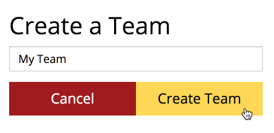 Create a Team menu