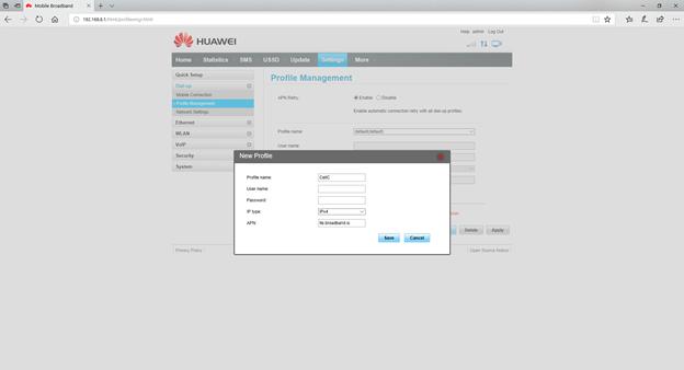 Manually setting APN on B315/B618 - Webafrica Support