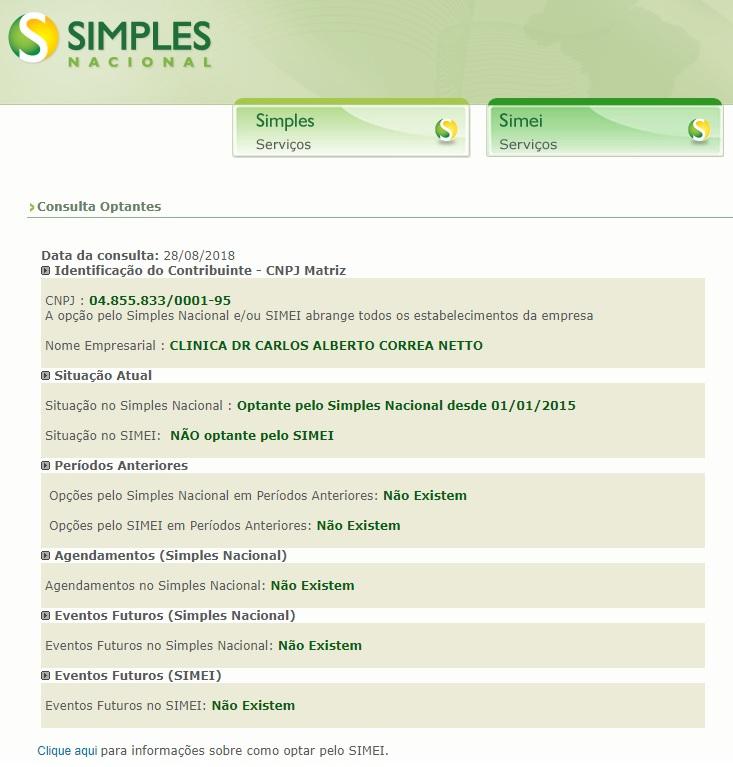 consultar se uma empresa é optante pelo Simples Nacional 2