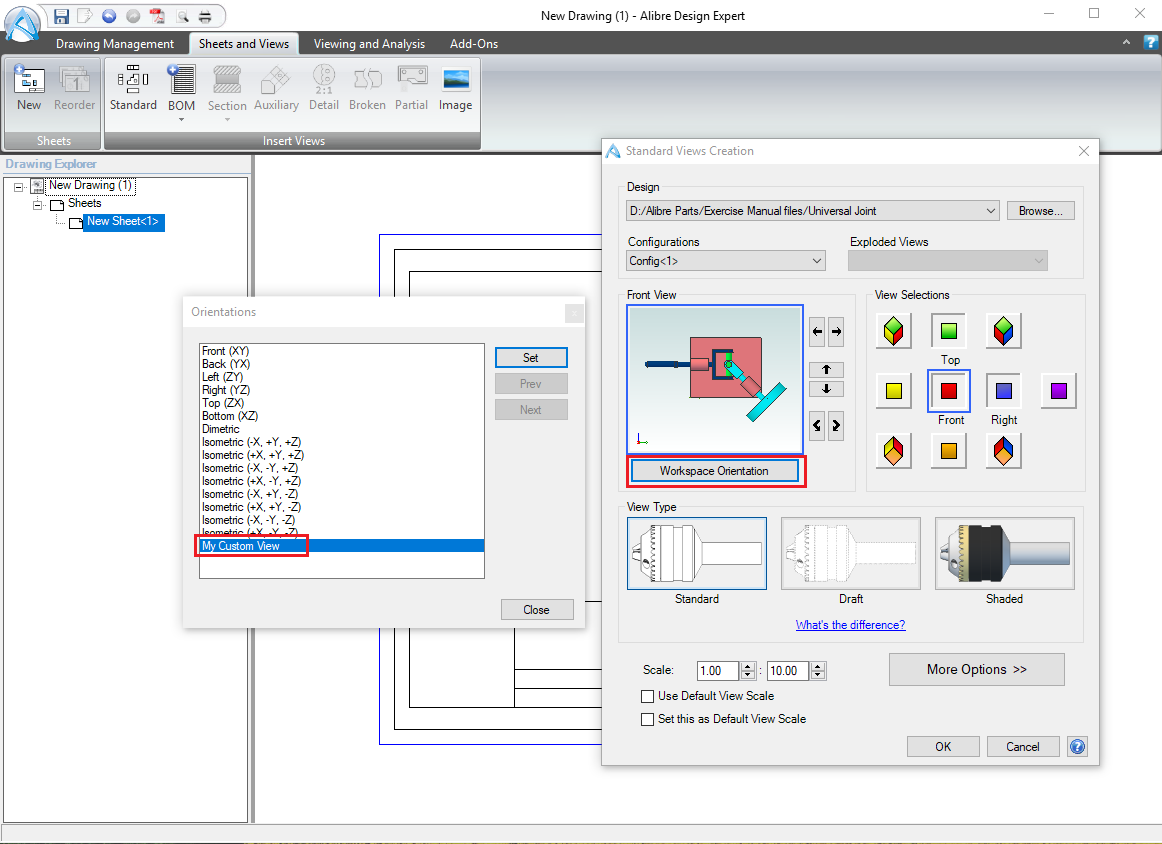 How to Create Custom View Orientations for 2D drawings : Support Center