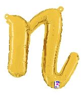 "14"" Air Filled Only Script Letter ""N"" Gold Foil Balloon"