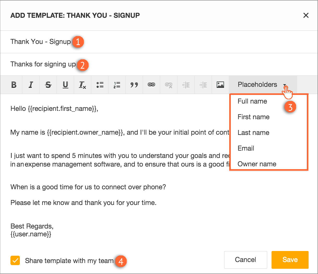 How To Create And Use Email Templates Freshsales - Set up email template