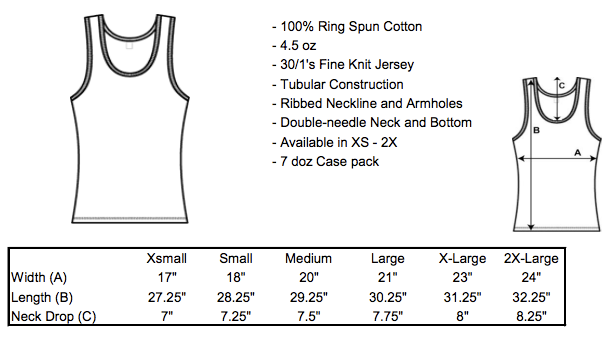 Tank Top Sizing The Ann Arbor T Shirt Company