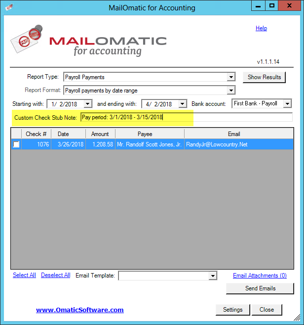 How to Add a Note to Payroll Checkstubs : Omatic Software Support