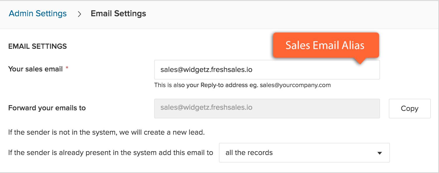 How to setup an email alias : Freshsales