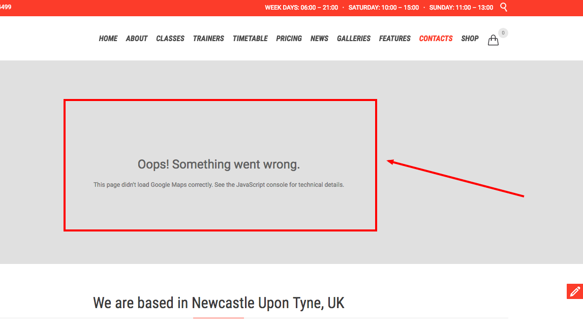 Google Maps Error - Oops! Something went wrong  This page didn't