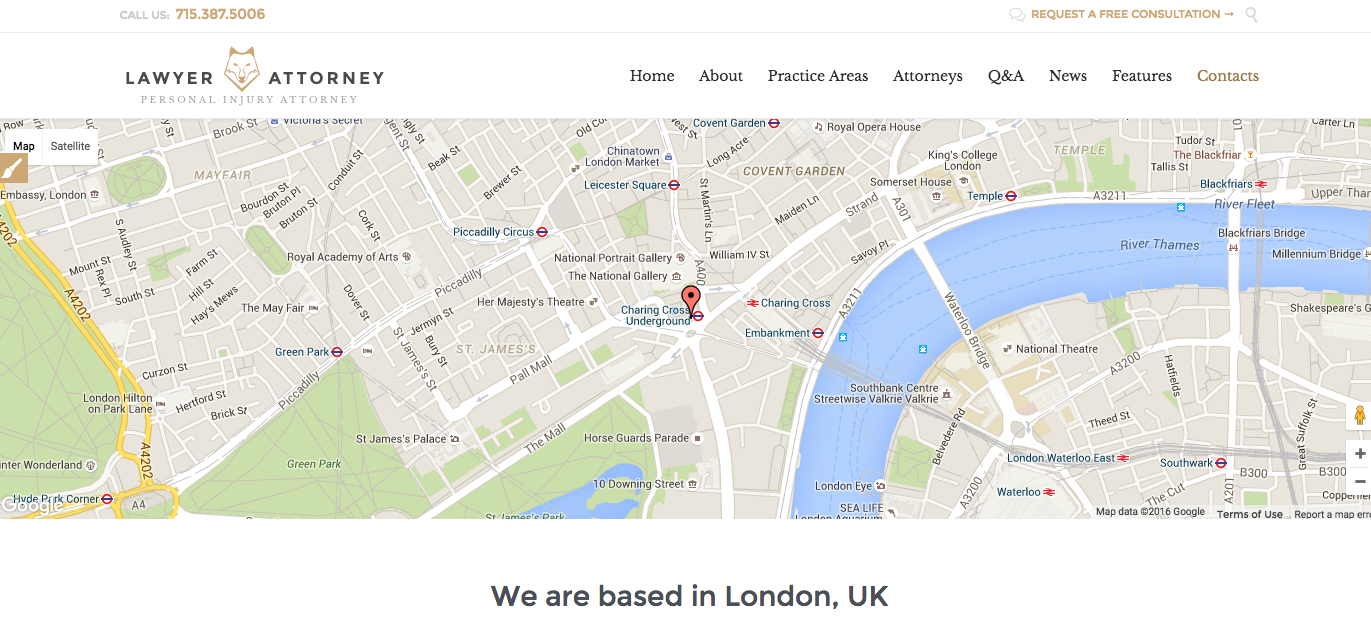 How to change the Google map in the Contact Us page Lawyer