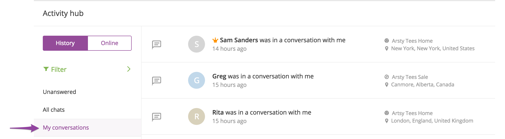 Viewing previous conversations - My conversations