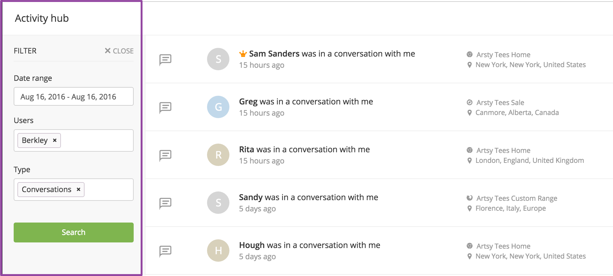 Viewing previous conversations - Filtering