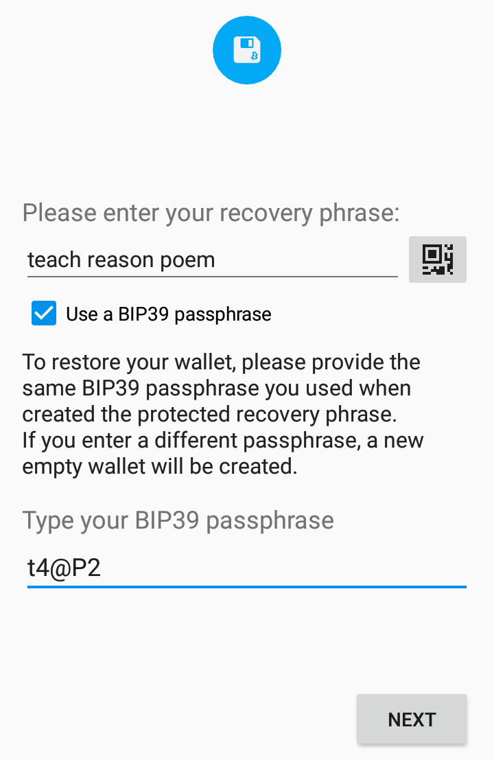 I restored my wallet using the correct passphrase but I don