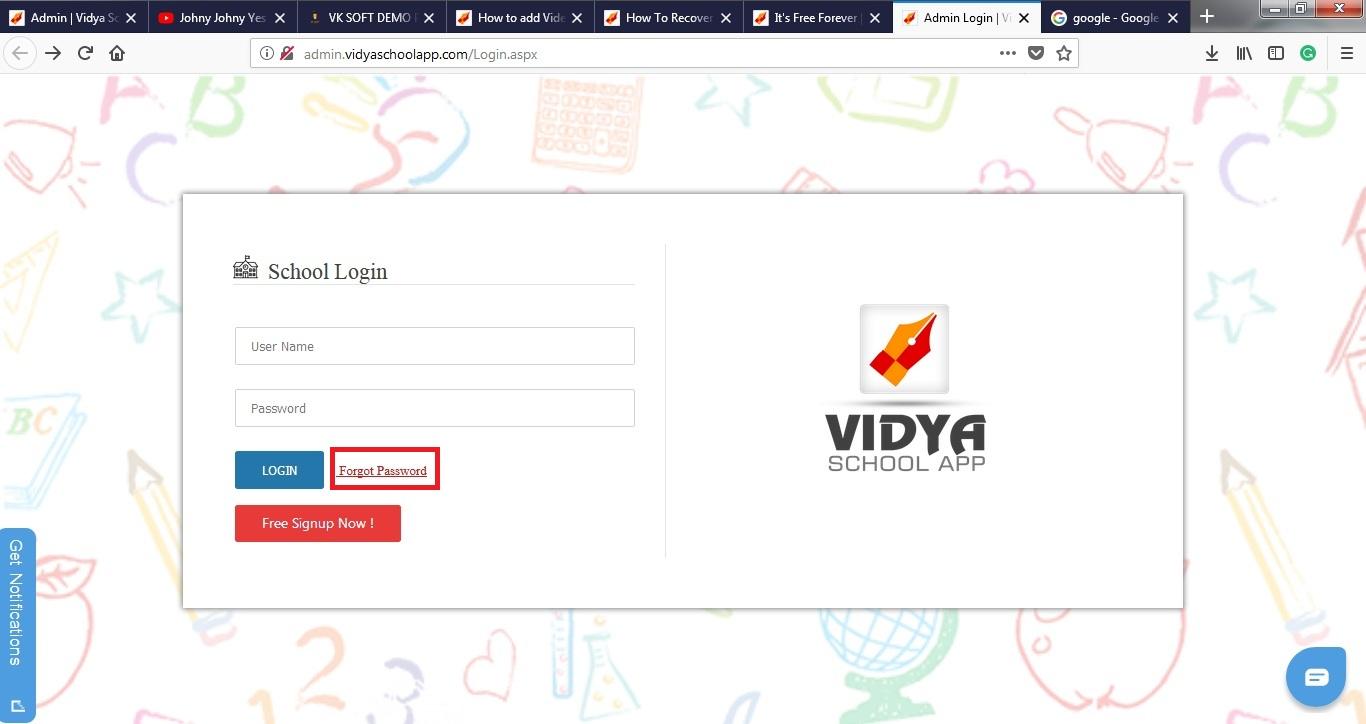 How To Recover Id & Password ( Forgot Password) ? : VIDYA