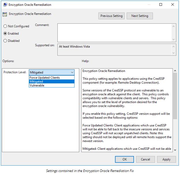 Windows 10 RDP CredSSP Encryption Oracle Remediation Error