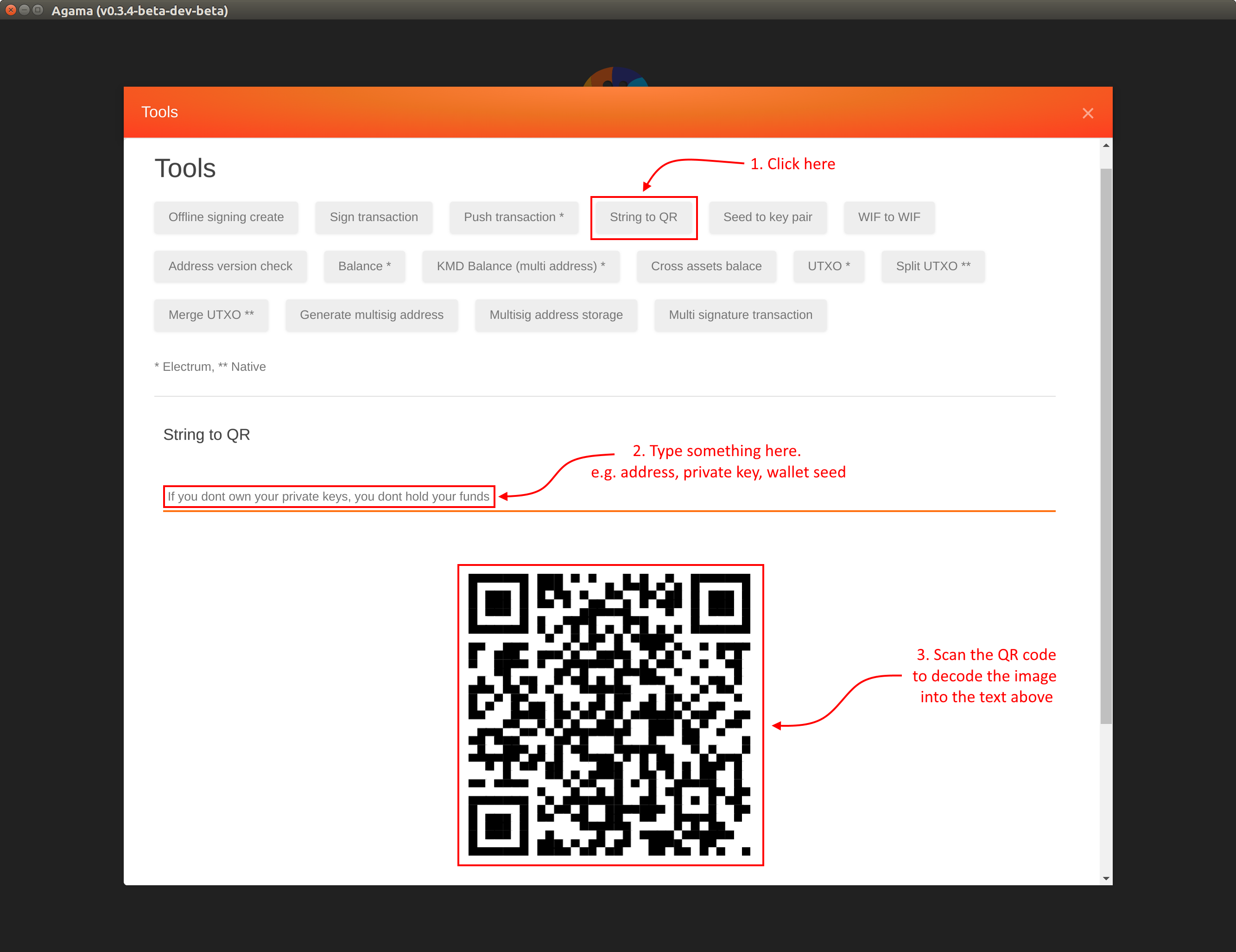 Encode Text to a QR code : Komodo Platform