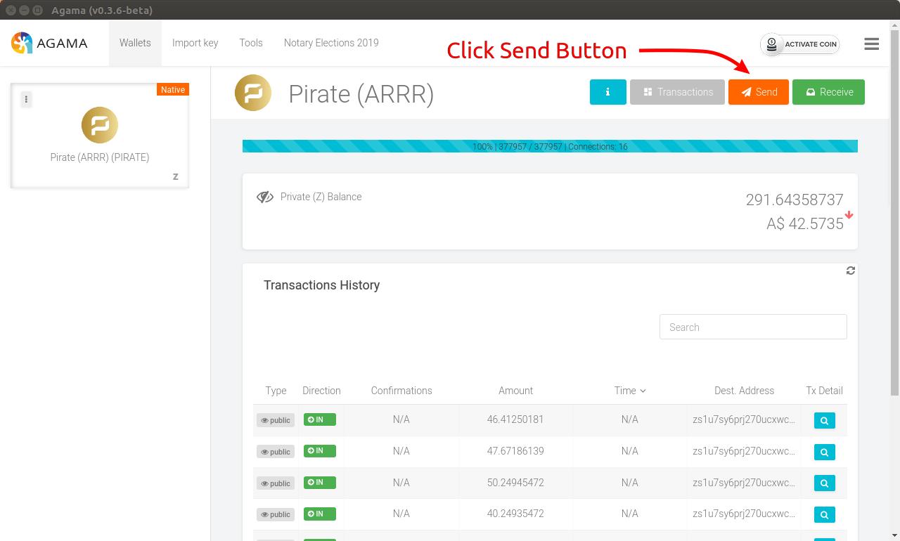 Perform Z Transactions Using Agama : Komodo Platform