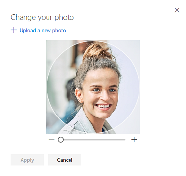 Screen with an option to change your profile photo