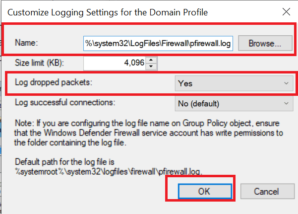 Customize Loggin Settings for the Domain Profile