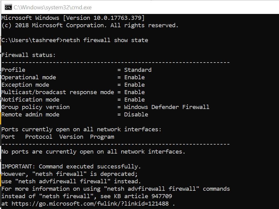 Windows Firewall Blocked Port
