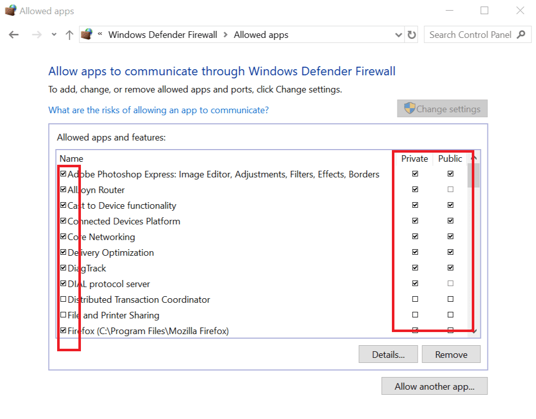 Check Blocked Programs in Windows Firewall