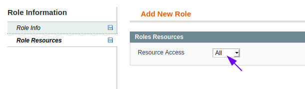 Role Resources form