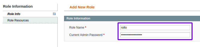 Role Info form