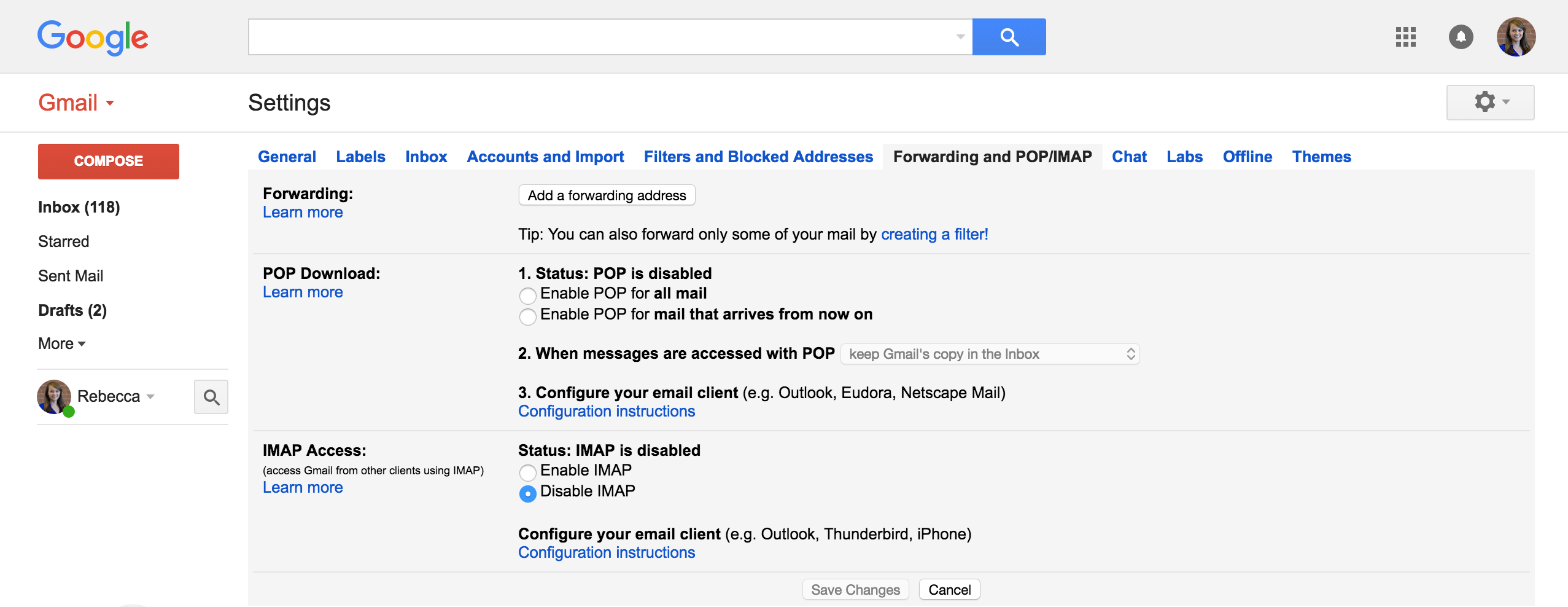Gmail theme disabled - Click The Forwarding And Pop Imap Tab