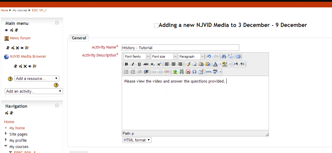 Using the media player tool to upload and link to media