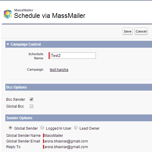 Sender Name/Email and bcc Setup and Usability for Mass Email