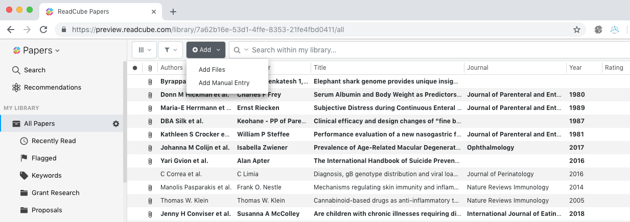 Screenshot of ReadCube Papers library