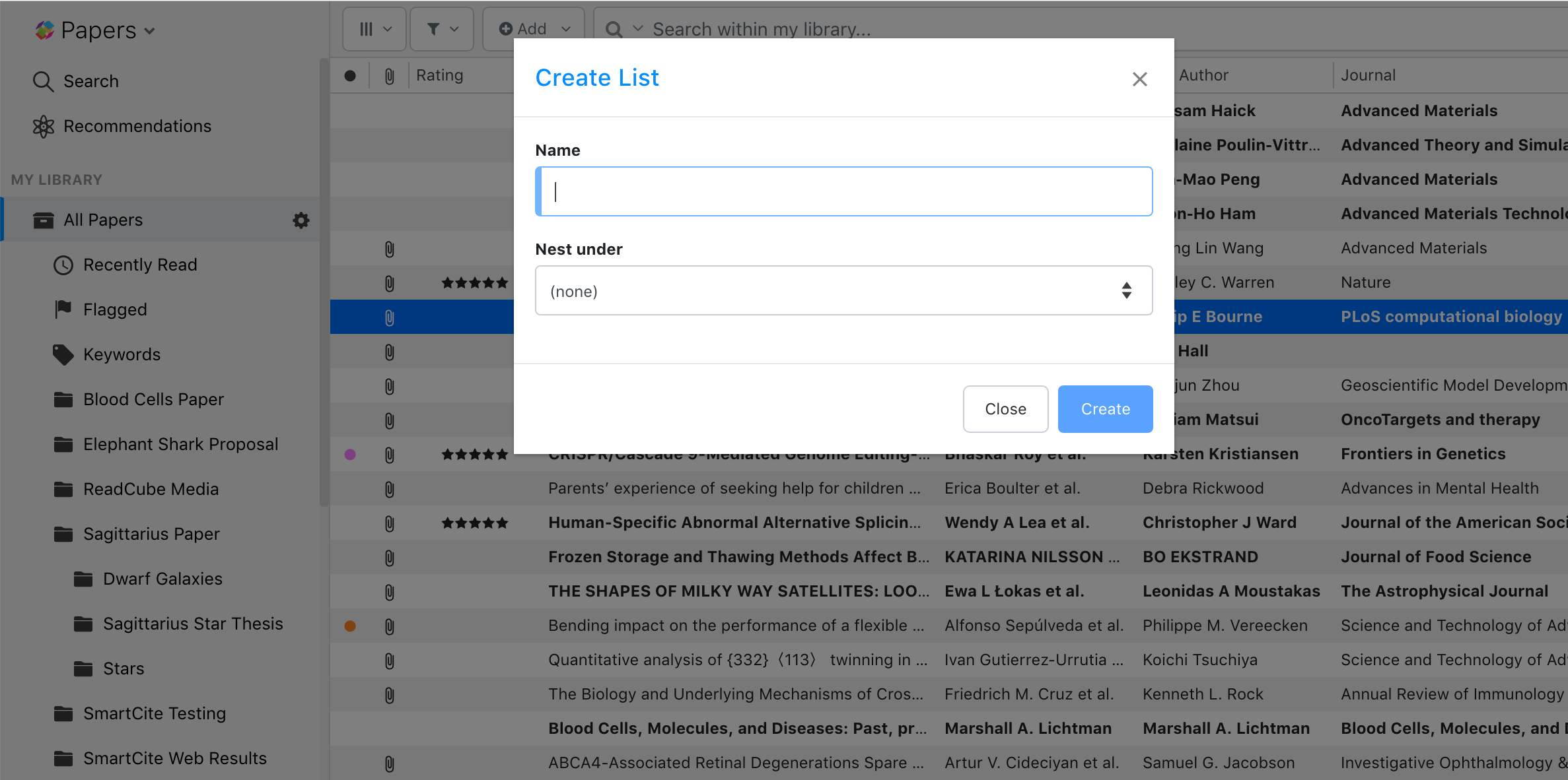 Screenshot showing how to create a List in ReadCube Papers