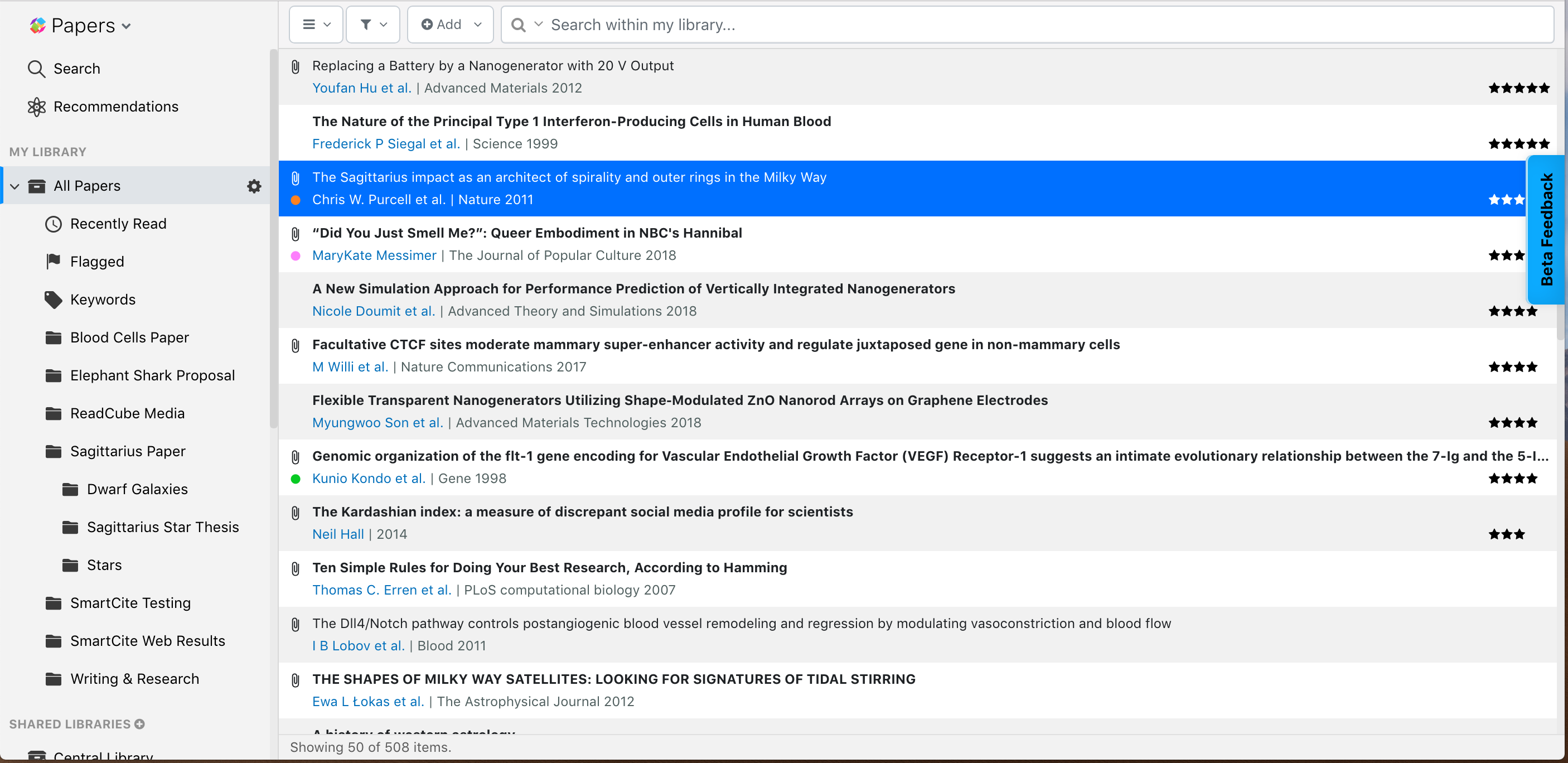 Screenshot of ReadCube Papers in List View