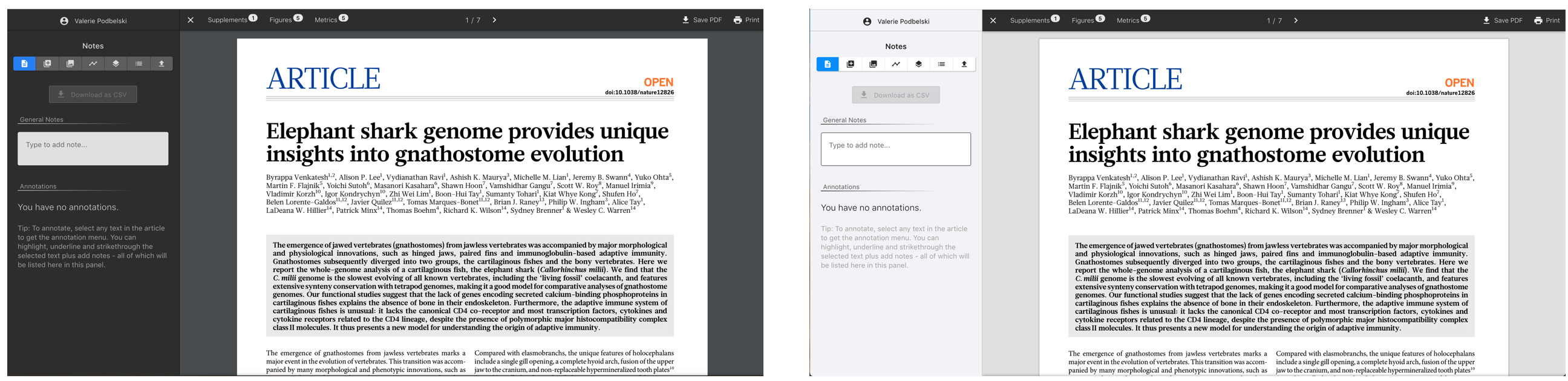 Screenshot of comparison of dark mode on the ReadCube Papers Web Reader