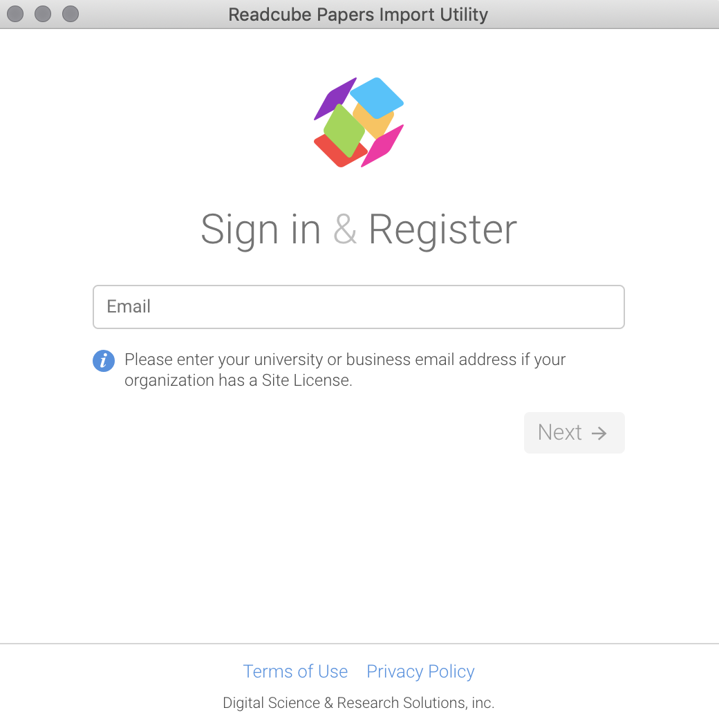 ReadCube Papers Sign In and Register Page