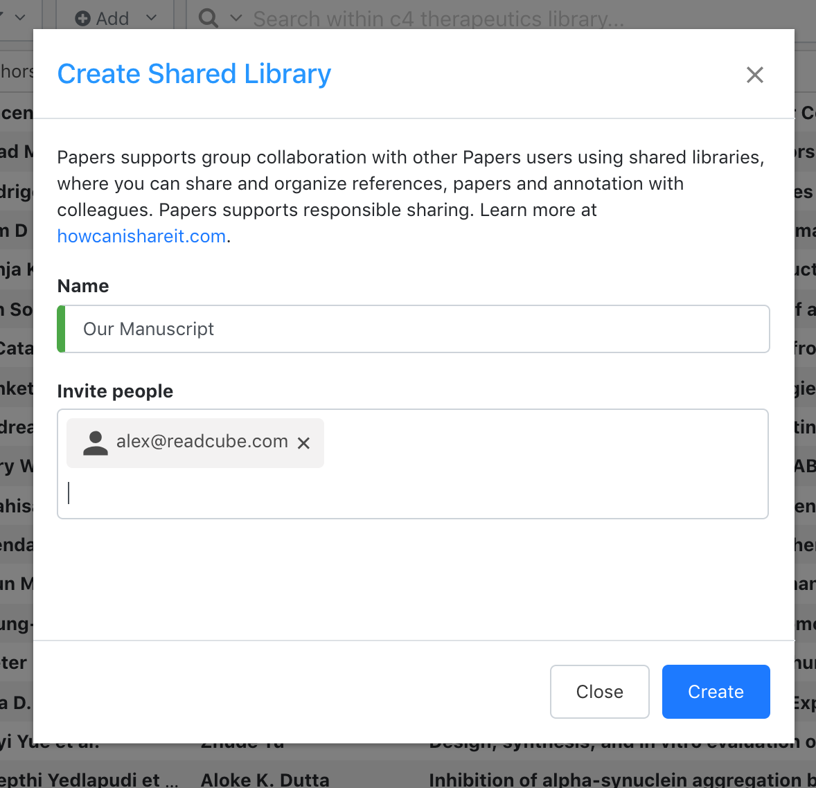Screenshot of adding a user to a Shared Library in ReadCube Papers