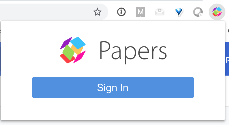 Screenshot of ReadCube Papers Sign In on the Browser Extension for Chrome