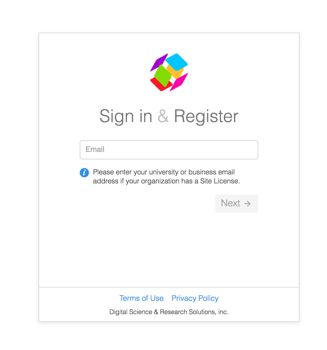 ReadCube Papers Sign In and Registration Page