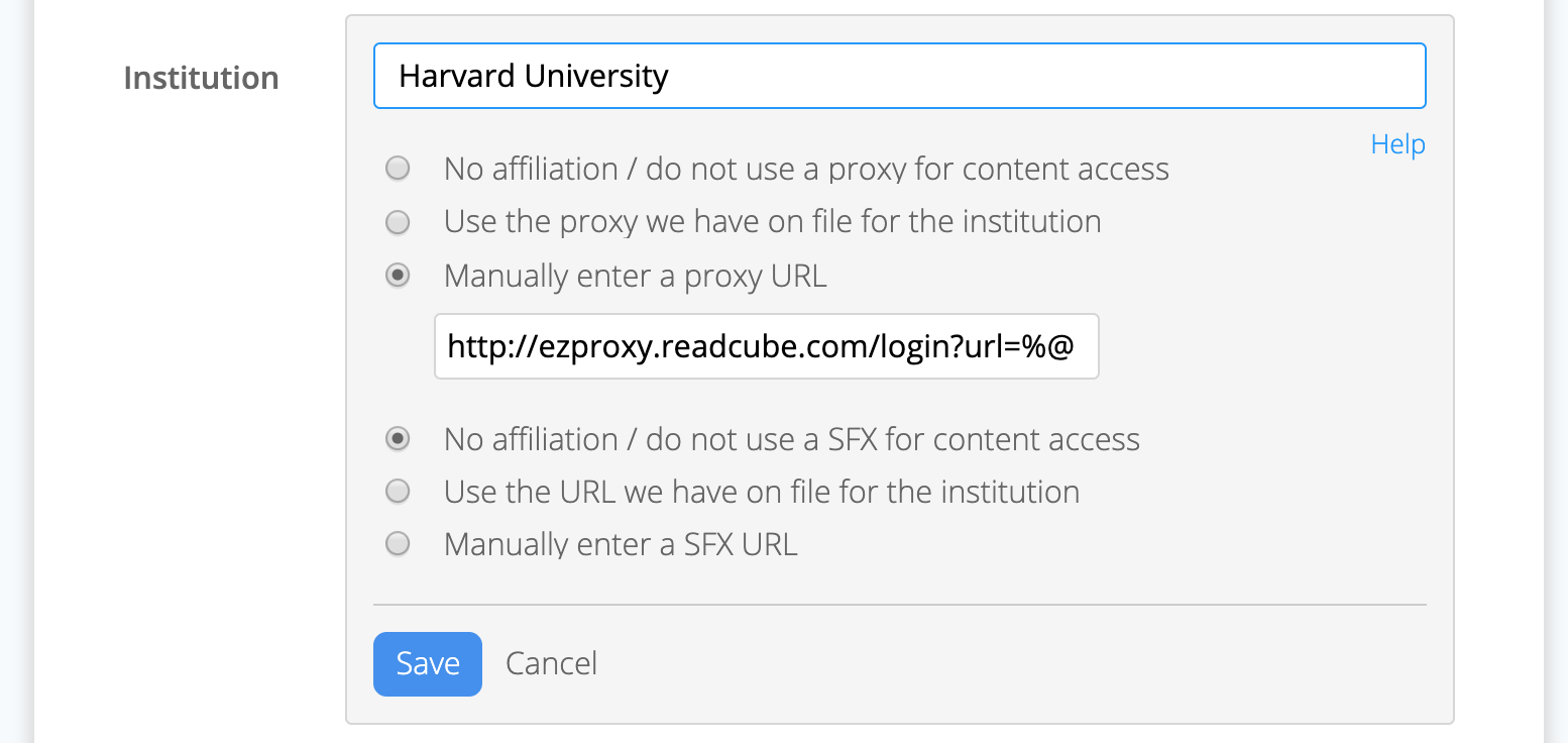 Screenshot of institutional search to connect institutional proxy on the ReadCube Papers account page