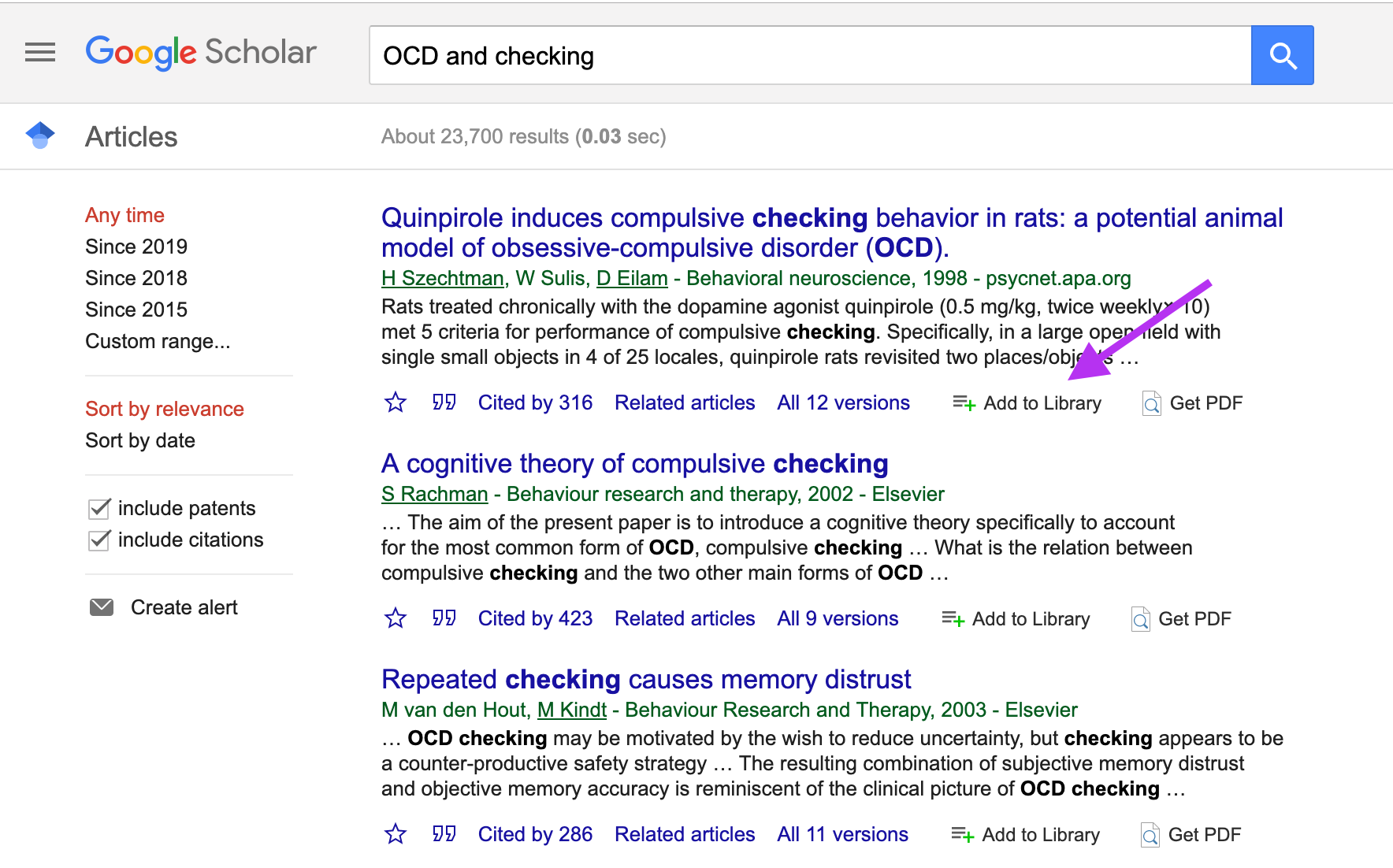 Screenshot on where to add papers found in Google Scholar directly into ReadCube Papers via the Browser Extension