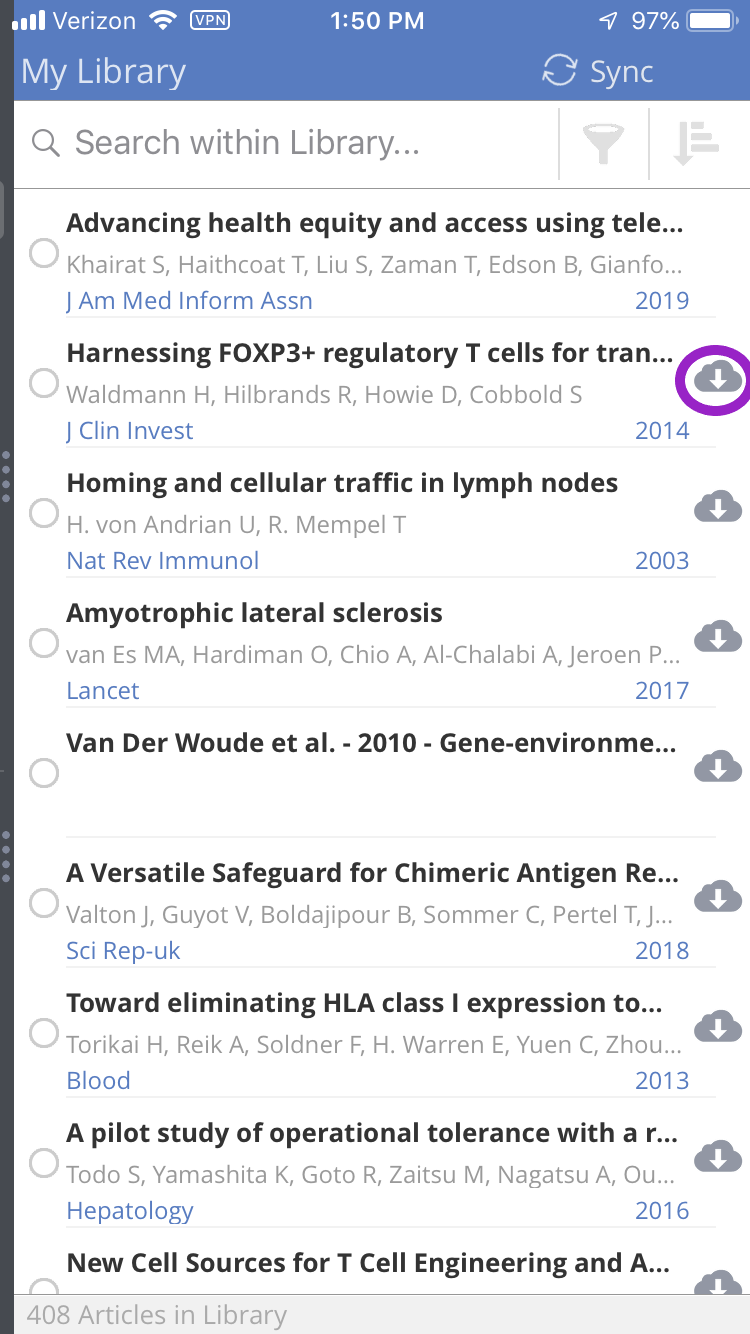 Screenshot showing how to download an article for offline reading in ReadCube Papers mobile apps