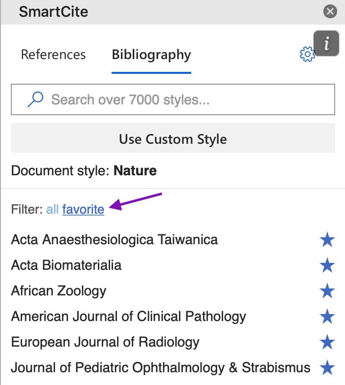 Where Favorite Citation Styles are in SmartCite