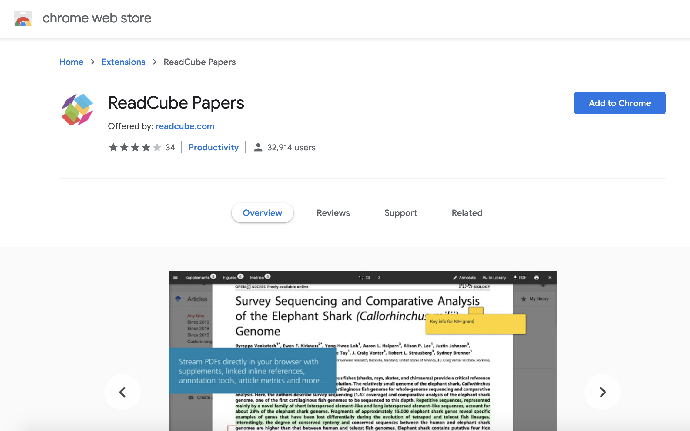 Screenshot showing where to install the ReadCube Papers Browser Extension for Chrome