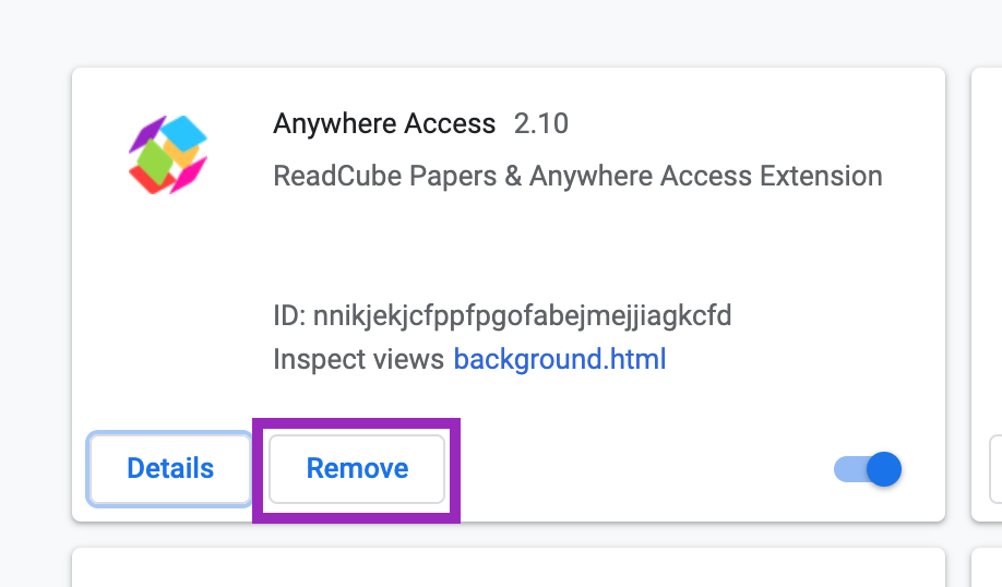 Screenshot showing where to remove the Anywhere Access Browser Extension for Chrome