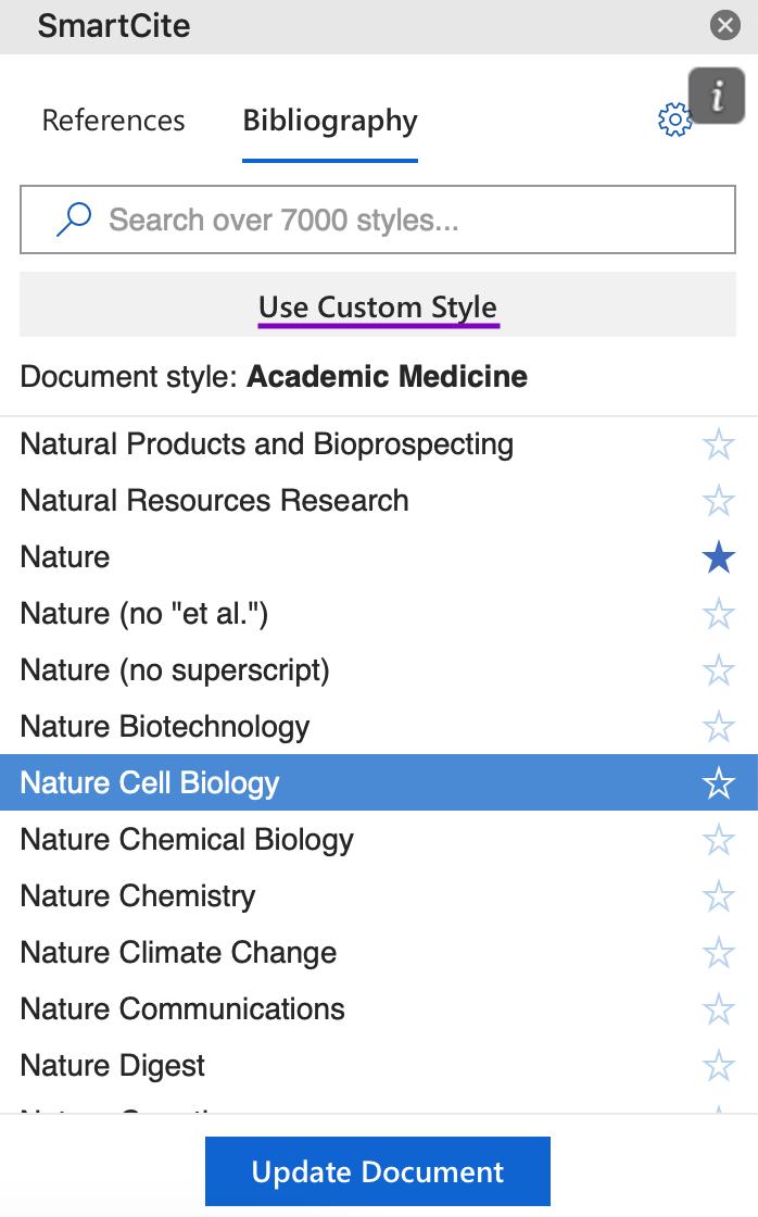 Screenshot of Custom Style in SmartCite