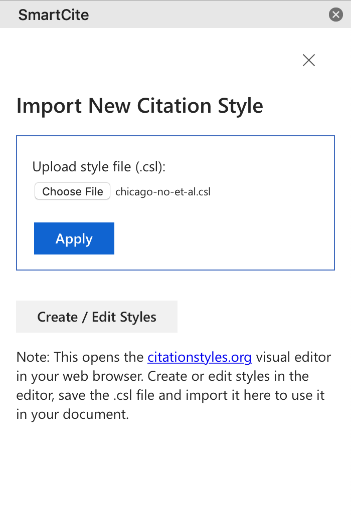 Screenshot of uploading new citation style in SmartCite