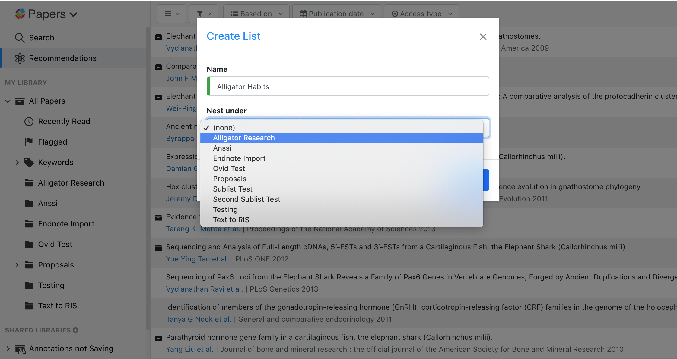 Screenshot showing how to organize Lists and add a sub List